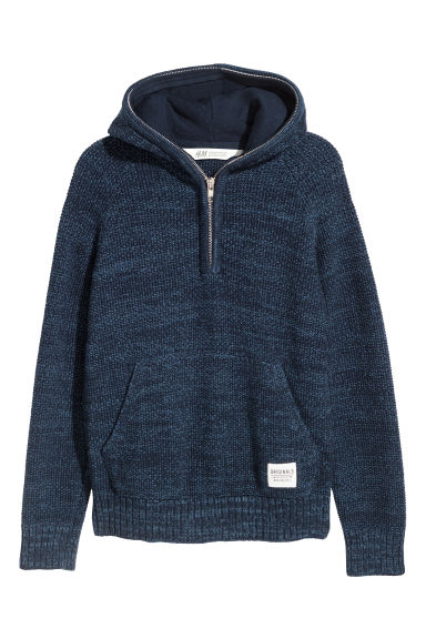 Knitted hooded jumper - Blue marl -  | H&M GB