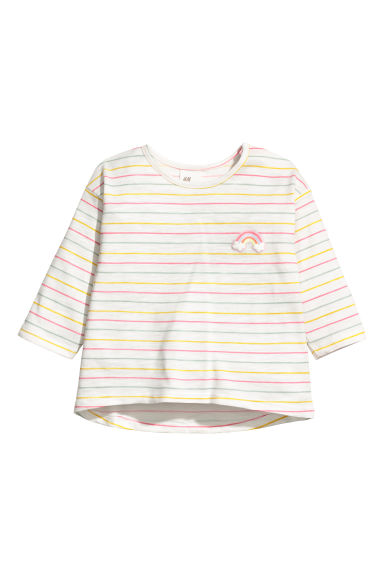 Printed jersey top - White striped/Rainbow - Kids | H&M CN