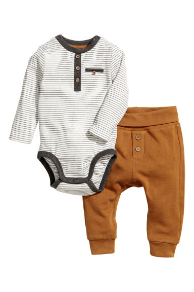 Cotton bodysuit and trousers - Camel/Striped - Kids | H&M CN