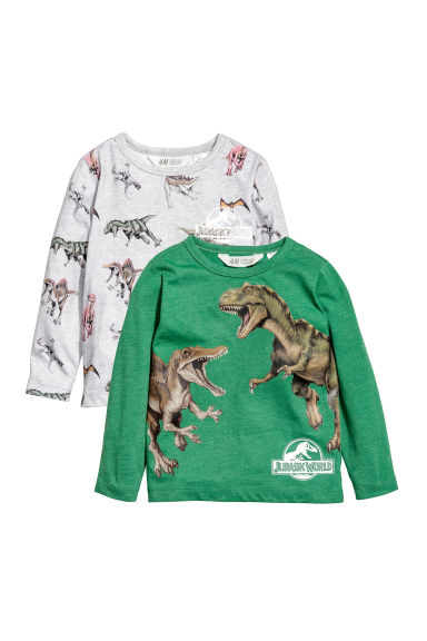 T-shirts en jersey, lot de 2 - Gris clair/Jurassic World - ENFANT | H&M CA