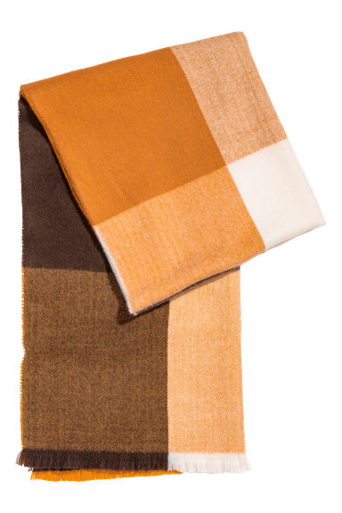 Block-patterned scarf - Orange/Multicoloured - Men | H&M CN