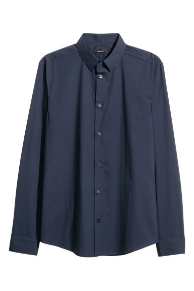 Premium cotton shirt - Dark blue - Men | H&M CN