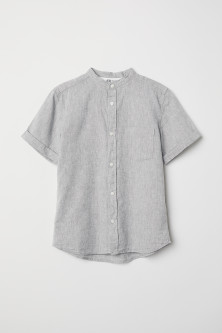 Linen-blend Band-collar Shirt