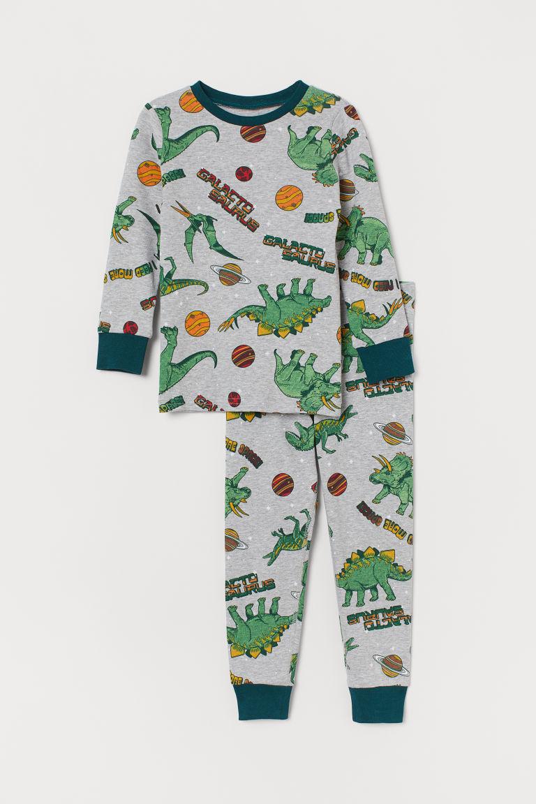 Jersey pyjamas - Grey marl/Dinosaurs - Kids | H&M GB