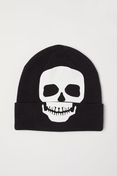 Hat with print motif - Black/Skull - Kids | H&M GB