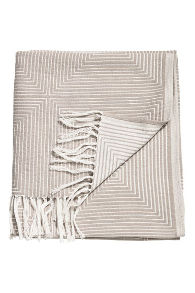 Jacquard-weave blanket - Light grey/White - Home All | H&M GB