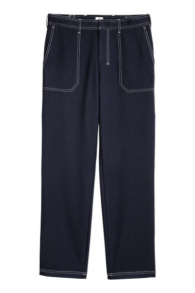 Contrasting-seam trousers - Dark blue - Men | H&M