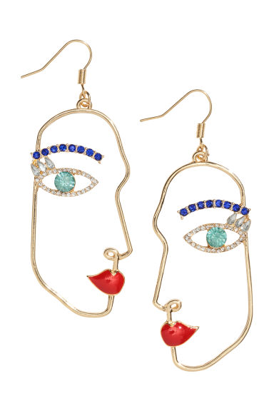 Earrings with sparkly stones - Gold-coloured - Ladies | H&M