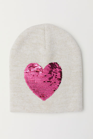 Hat with reversible sequins - Natural white/Heart -  | H&M CN
