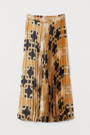 H&M X 리차드 앨런 콜라보 플리츠 새틴 플리츠 스커트 (슈스스TV 한혜연 착용) H&M Pleated Satin Skirt