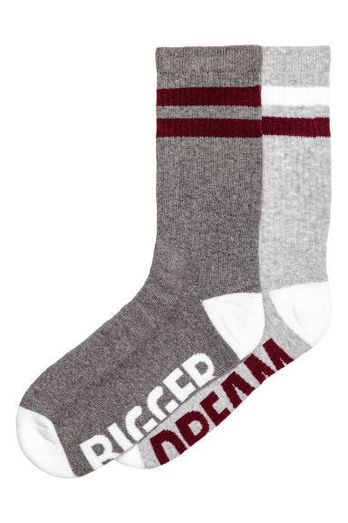 2-pack socks - Grey/Burgundy - Ladies | H&M IE