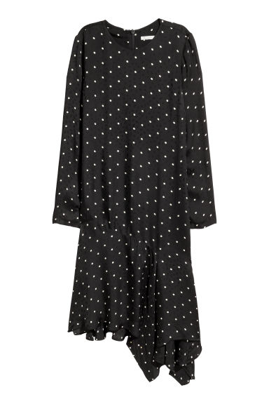 Jacquard-weave dress - Black/Spotted -  | H&M GB
