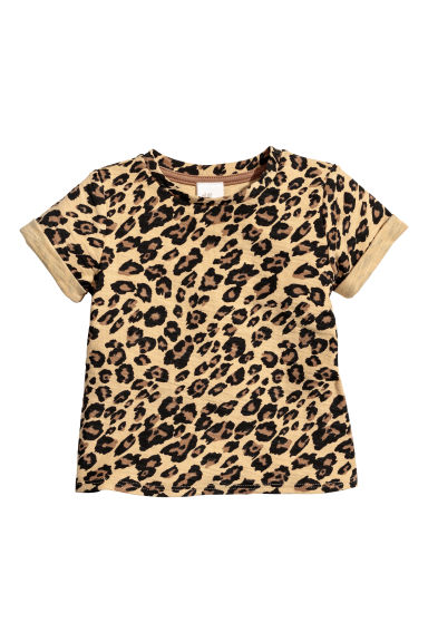Patterned T-shirt - Beige/Leopard print - Kids | H&M CN
