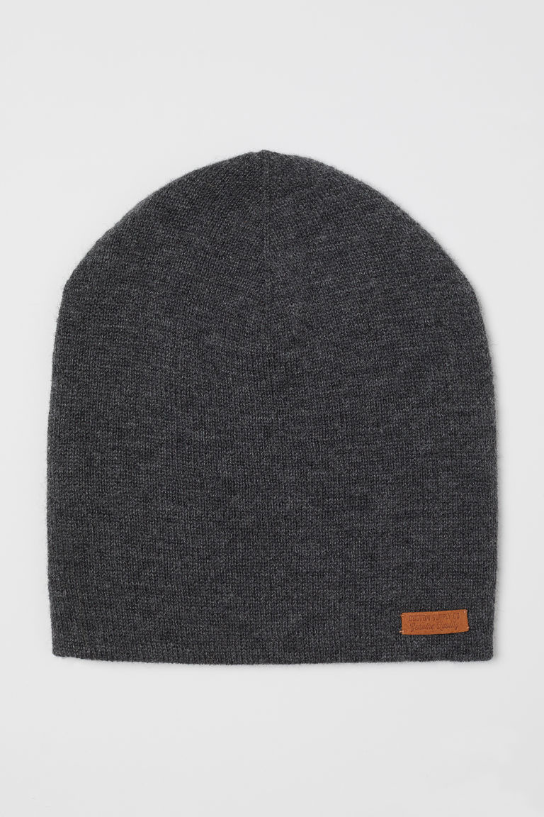 Merino wool hat - Dark grey marl - Kids | H&M GB