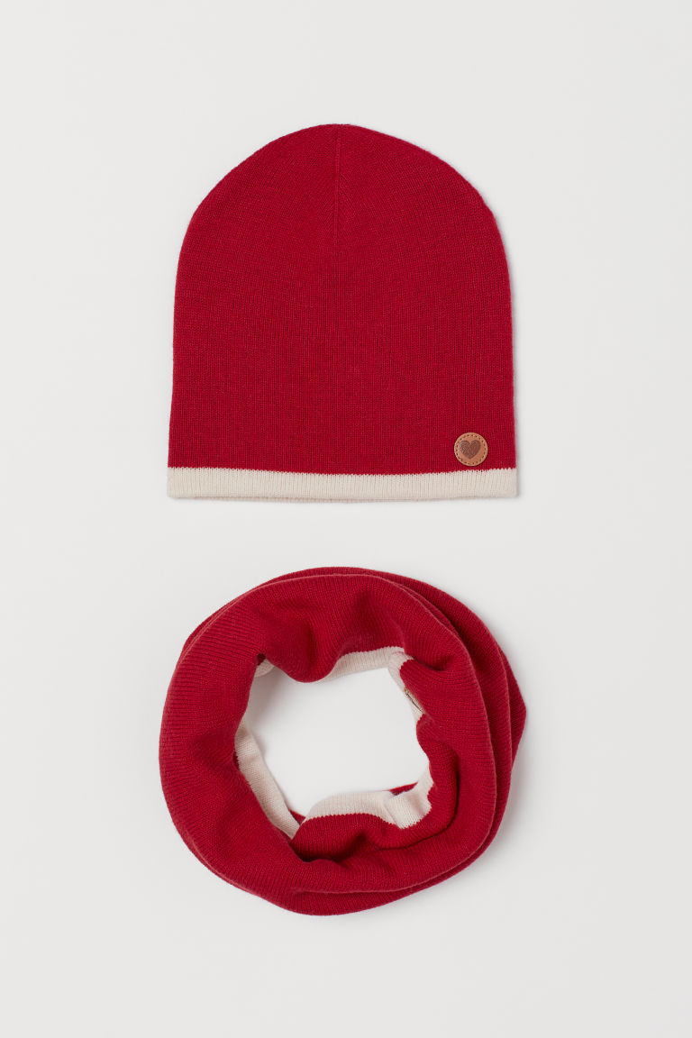 Wool hat and tube scarf - Red - Kids | H&M GB