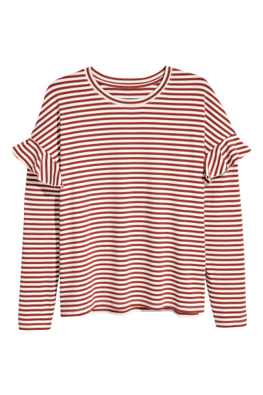 H&M+ Long-sleeved top - White/Rust striped - Ladies | H&M