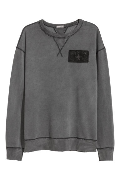 Sweat-shirt delavé - Gris-noir - HOMME | H&M BE