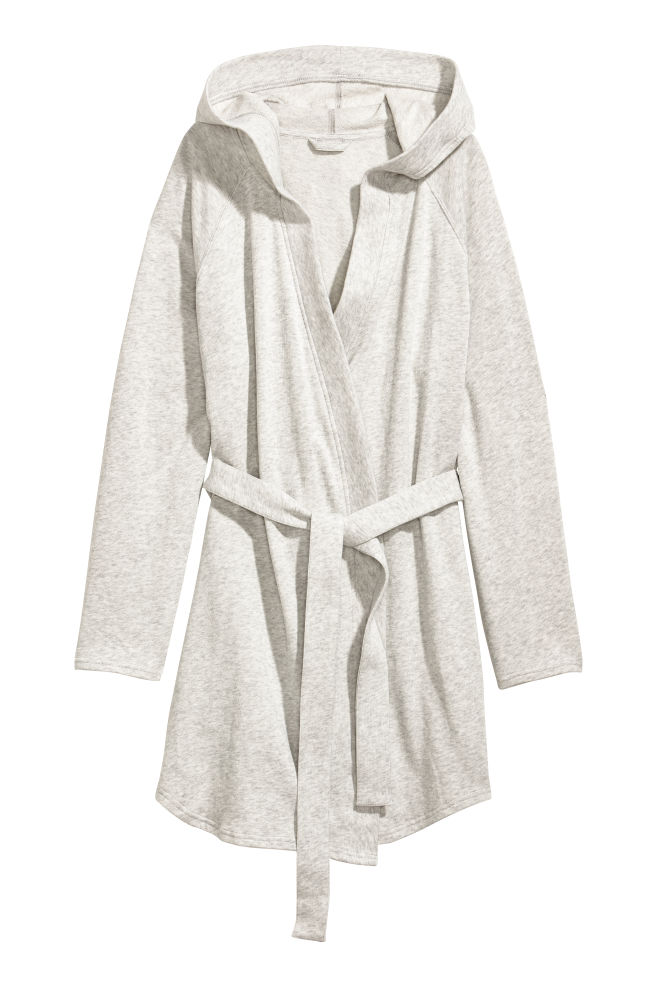 Hooded dressing gown - Light grey marl - | H&M GB