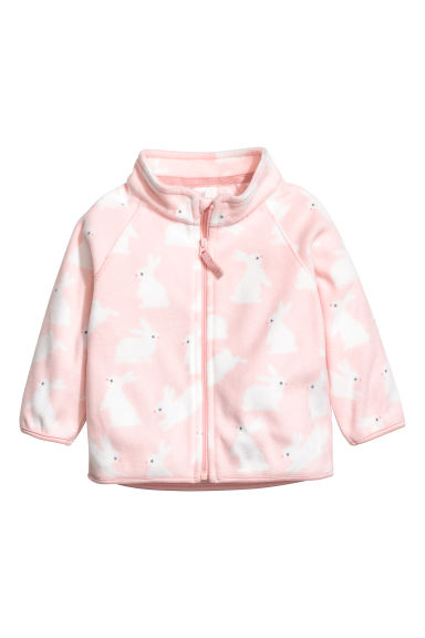 Fleece jacket - Light pink/Rabbits - Kids | H&M CN
