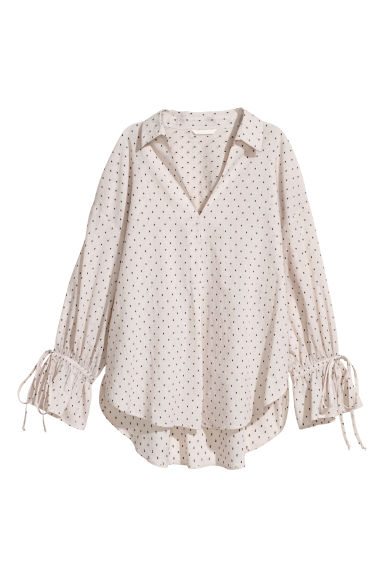 Wide shirt - Cream/Patterned - Ladies | H&M