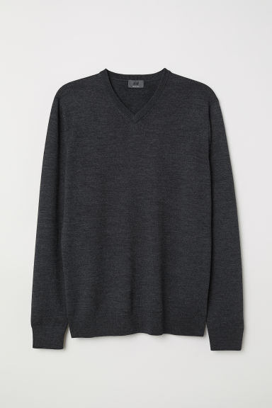 V-neck merino wool jumper - Dark grey marl - Men | H&M
