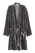 Velvet dressing gown - Grey -  | H&M CN 2