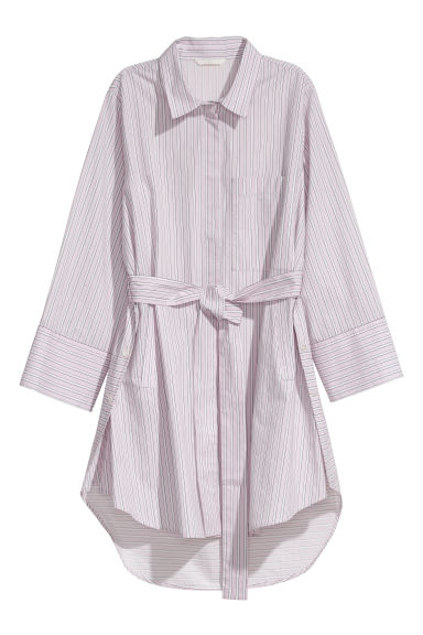 Cotton shirt with a tie belt - Light pink/White striped - Ladies | H&M GB