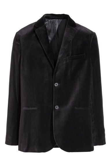 Velvet jacket Slim fit - Dark blue - Men | H&M