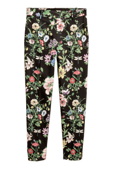 Tailored trousers - Black/Floral - Ladies | H&M CN