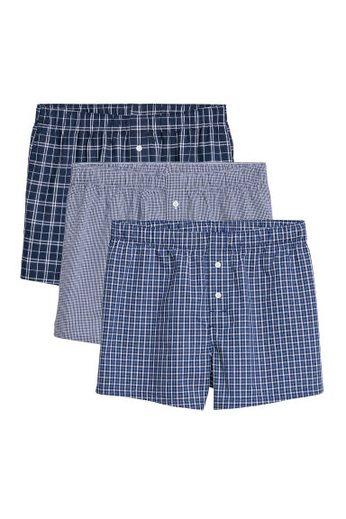 3-pack woven boxer shorts - Bright blue/Checked - Men | H&M GB