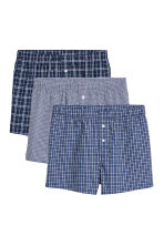 3-pack woven boxer shorts - Bright blue/Checked - Men | H&M CN 2
