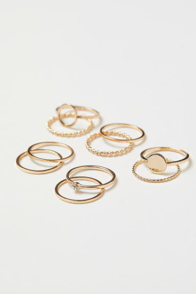 10-pack rings - Gold-coloured - Ladies | H&M