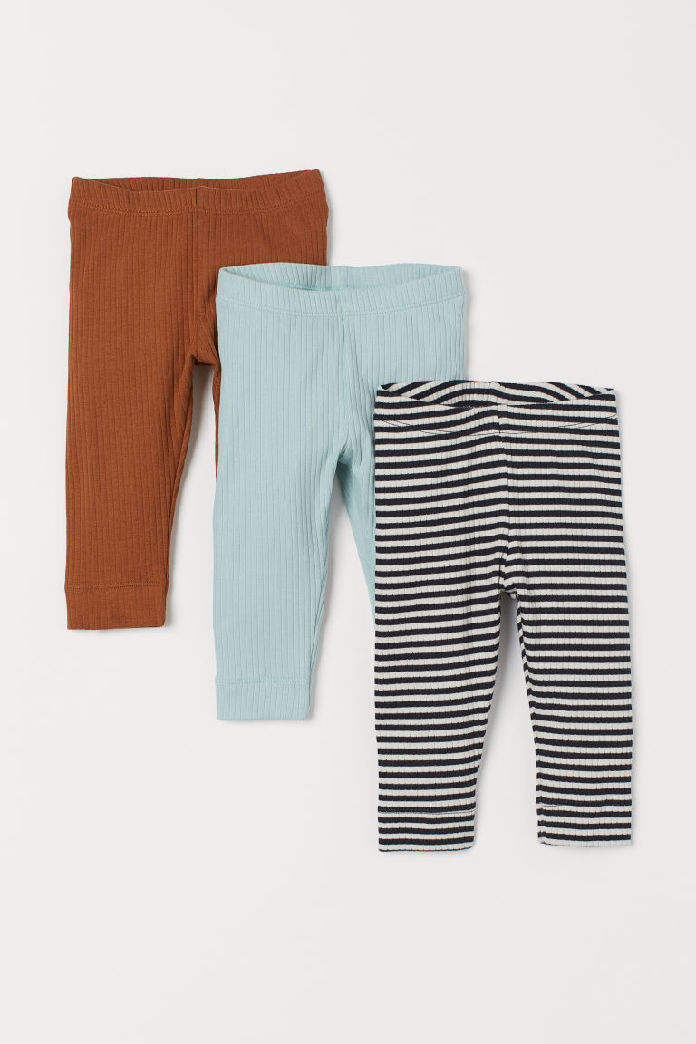 3-pack ribbed leggings - Black/White striped - Kids | H&M GB