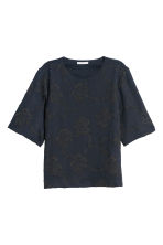 Top with embroidery - Dark blue/Embroidery - Ladies | H&M 2
