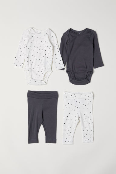 4-piece cotton set - White/Stars - Kids | H&M CN