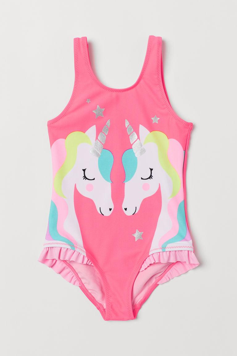 Printed swimsuit - Neon pink/Unicorns - Kids | H&M GB