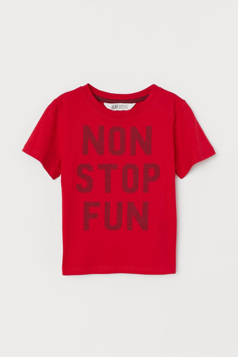 Cotton T-shirt - Red/Non Stop Fun - Kids   H&M GB
