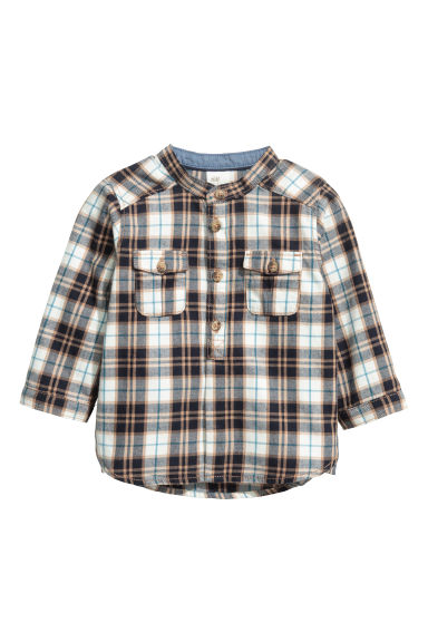 Grandad-collar cotton shirt - Dark blue/White checked - Kids | H&M CN