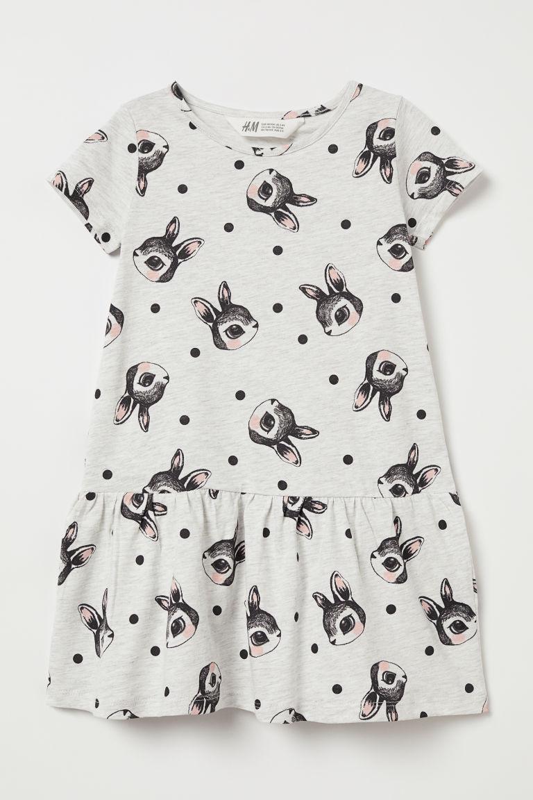 Patterned jersey dress - Light grey/Rabbits - Kids | H&M GB