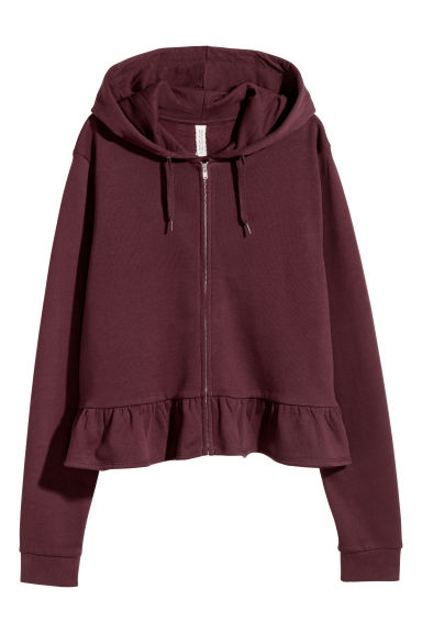 Sweat à capuche volanté - Bordeaux -  | H&M FR