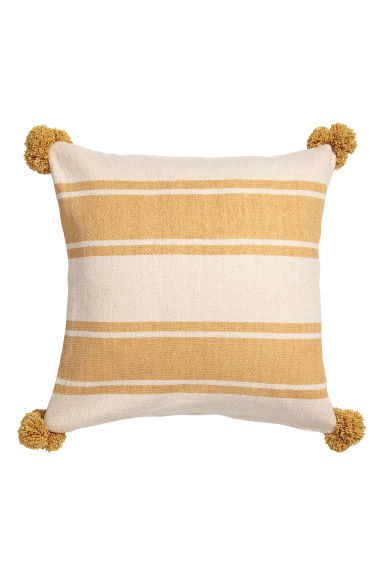 Tasselled cushion cover - Natural white/Yellow striped -  | H&M CN
