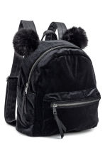 Velour backpack - Black -  | H&M CN 2