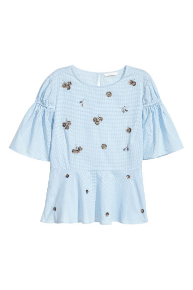 Short-sleeved blouse - Light blue/White checked -  | H&M GB