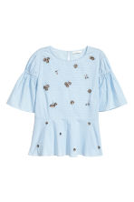 Short-sleeved blouse - Light blue/White checked - Ladies | H&M CN 2