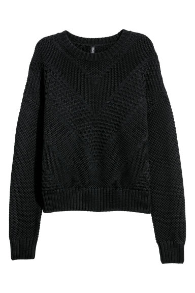 Textured-knit jumper - Black - Ladies | H&M