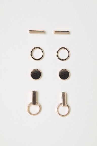 4 pairs stud earrings - Rose gold-coloured - Ladies | H&M CN