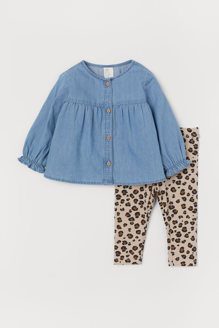 Dress and leggings - Denim blue/Leopard print - Kids | H&M GB