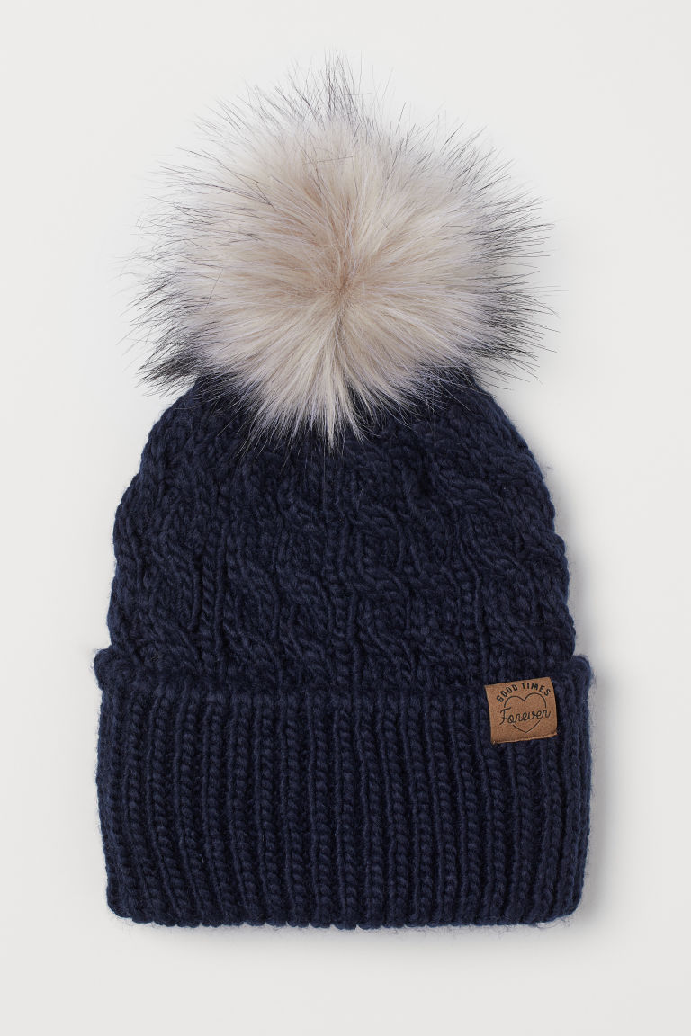 Knitted pompom hat - Dark blue - Kids | H&M GB