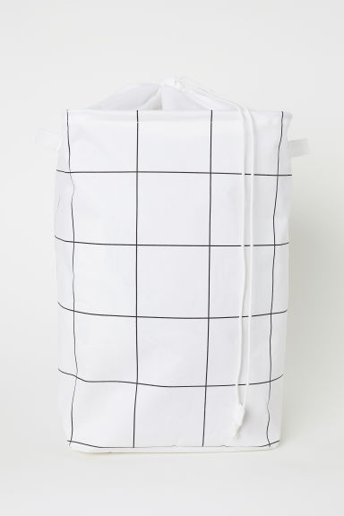 Laundry bag - Natural white/Black checked - Home All | H&M CN