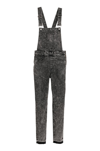 Denim dungarees - Black washed out -  | H&M